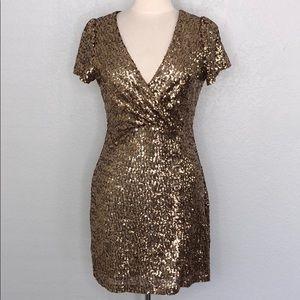 Honey Punch Bronze Sequin Mini Dress Large